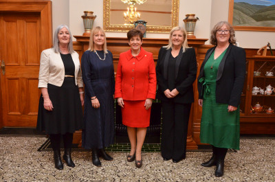Dame Patsy with Pauline Prince, Jackie Lloyd, Julia Hoare and Kirsten Patterson