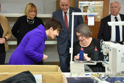 Dame Patsy Reddy and Sir David Gascoigne in the Untouched World workroom