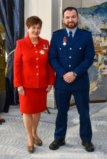 Dame Patsy with recipient Constable Scott Higby