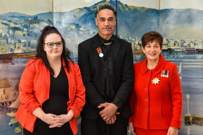 Dame Patsy with Finekata Moataane and his partner
