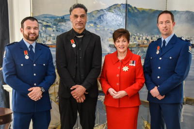 Dame Patsy Reddy with Constable Scott Higby, Finekata Moataane, and Provisional Sergeant Brett Anthony Neal