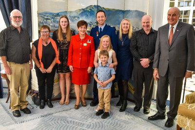 Dame Patsy Reddy and Sir David Gascoigne with Provisional Sergeant Brett Anthony Neal and his family