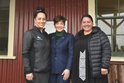 Dame Patsy Reddy with Sera Gibson and Liana Poutu