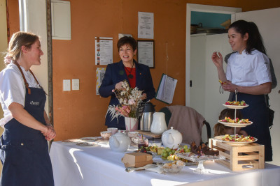 Dame Patsy Reddy, Sir David Gascoigne, Momo Martin and Michelle Hartley have afternoon tea