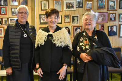 Dame Patsy Reddy with after the whaikōrero
