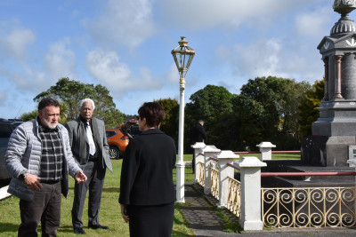 Dame Patsy Reddy by the grave of Te Whiti-o-Rongomai
