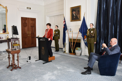 Dame Patsy Reddy and Sir David Gascoigne on a Zoom call