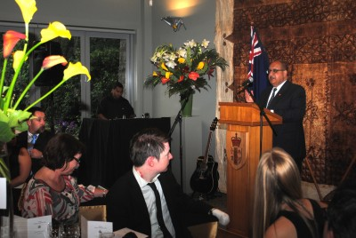 The Governor-General addresses the guests at the Emerging Leaders Dinner.