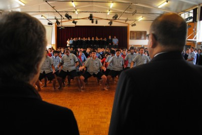 Combined Kaikohe school Haka Powhiri and karanga to welcome the Governor-General.