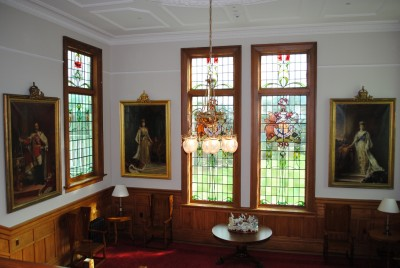 Landing paintings and stained glass windows.