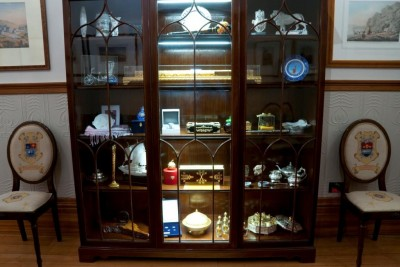 Display cases.