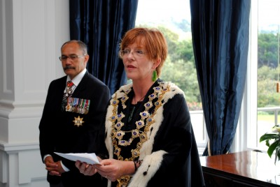 Celia Wade-Brown, Mayor of Wellington City, takes the oaths and affirmations of allegiance.