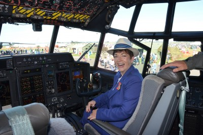 The Governor-General, The Rt Hon Dame Patsy Reddy, in the cockpit of a RNZAF Hercules.