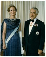 Sir Paul Reeves with the Queen of Denmark.