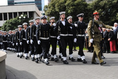 The Tri-Service Royal Guard of Honour march into place.