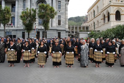 The Māori Welcoming Party assemble on the Parliament forecourt.