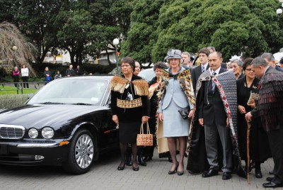 Sir Jerry and Lady Janine Mateparae arrive at Parliament for the Swearing-In Ceremony.