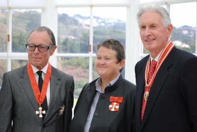 Sir Michael Hill KNZM, Jan Cameron CNZM, and Sir Bob Charles ONZ.